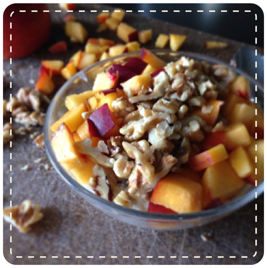 Steel cut oats with peaches and walnuts