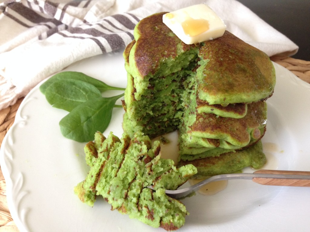 Stack of Green Pancakes with Syrup